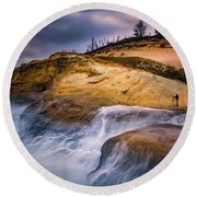 Attracted To The Ocean Round Beach Towel