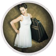 Attractive Young 1950s Woman Ready For Travel Tour Round Beach Towel