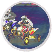 Atv Racing Round Beach Towel