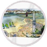 Au Bord De La Mer, La Rochelle, Charente-maritimes Round Beach Towel