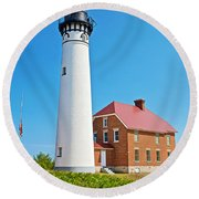 Au Sable Lighthouse In Pictured Rocks National Lakeshore-michigan  Round Beach Towel