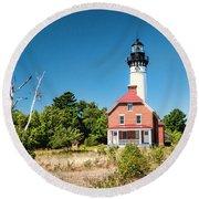 Au Sable Point Lighthouse Round Beach Towel