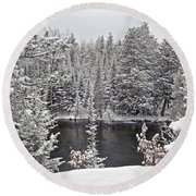 Au Sable River Overlook Round Beach Towel