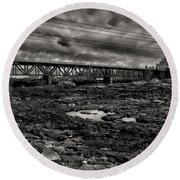 Auburn Lewiston Railway Bridge Round Beach Towel