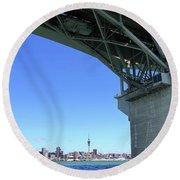 Auckland Harbour And Bridge Round Beach Towel