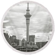 Auckland New Zealand Sky Tower Bw Texture Round Beach Towel