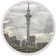 Auckland New Zealand Sky Tower Textured Round Beach Towel