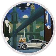 Audi Gaudi - The Retro Of The Future Round Beach Towel