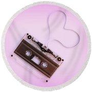 Audio Cassette Love Pink Round Beach Towel