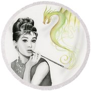 Audrey And Her Magic Dragon Round Beach Towel