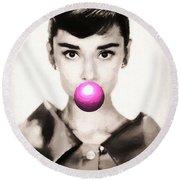 Audrey Hepburn Bubblegum Round Beach Towel