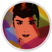 Audrey Hepburn Pop Art 1 Round Beach Towel