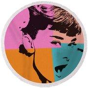 Audrey Hepburn Pop Art 2 Round Beach Towel