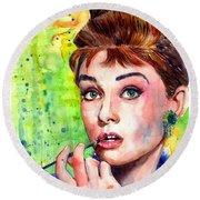 Audrey Hepburn Watercolor Round Beach Towel