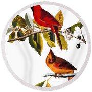 Audubon: Cardinal Round Beach Towel