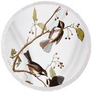 Audubon: Chickadee, (1827-1838) Round Beach Towel