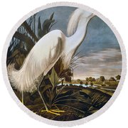 Audubon: Egret Round Beach Towel