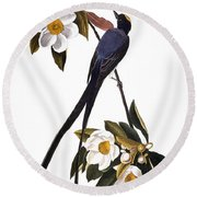 Audubon Flycatcher, 1827 Round Beach Towel