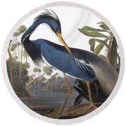 Audubon Heron, 1827 Round Beach Towel by John James Audubon
