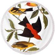 Audubon: Tanager, 1827 Round Beach Towel