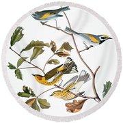 Audubon: Warbler, (1827-1838) Round Beach Towel