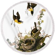 Audubon: Yellow Chat, (1827-38) Round Beach Towel
