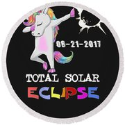August 21 Solar Total Eclipse Funny Dabbing Unicorn Round Beach Towel