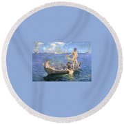 August Blue Round Beach Towel