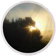 August Fog Sunrise Light Rays Round Beach Towel