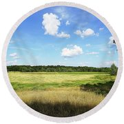 August Noon Round Beach Towel