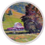 August Pastures Round Beach Towel