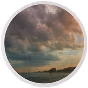 August Skies Over Ocean Isle Beach Round Beach Towel