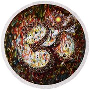 Aum - Cosmic Vibrations  Round Beach Towel