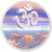 Aum - Om Upon Waterlilies - 3d Render Round Beach Towel