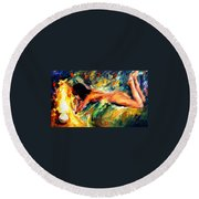 Aura Of Love - Palette Knife Oil Painting On Canvas By Leonid Afremov Round Beach Towel