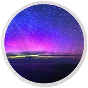 Aurora At Ceide Fields Round Beach Towel