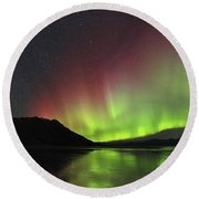 Aurora Borealis Milky Way And Big Round Beach Towel