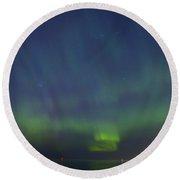 Aurora Borealis Northern Lights In North Europe Round Beach Towel