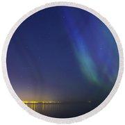 Aurora Borealis Northern Lights Over City Of Tallinn North Europe Round Beach Towel