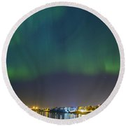Aurora Borealis Northern Lights Over City Of Tallinn Round Beach Towel