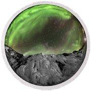 Aurora Borealis Over Iceland, Fisheye Round Beach Towel