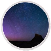 Aurora Borealis Over Lindisfarne Castle Round Beach Towel