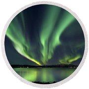 Aurora Borealis Over Tjeldsundet Round Beach Towel by Arild Heitmann