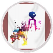 Aurora Flowers Round Beach Towel