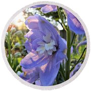 Aurora Light Purple Delphinium And Sunset No. 2 Round Beach Towel