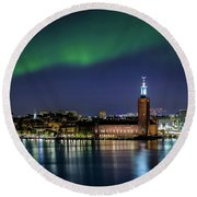 Aurora Over The Stockholm City Hall And Kungsholmen Round Beach Towel