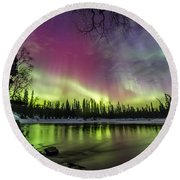Auroras At The Mill Round Beach Towel