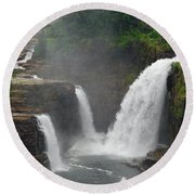 Ausable Chasm Waterfalls Round Beach Towel