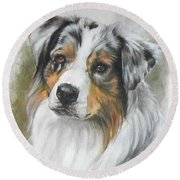Aussie Shepherd Portrait Round Beach Towel