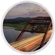 Austin 360 Bridge At Night Round Beach Towel